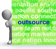 Outsource Word Cloud Sign Shows Subcontract And Freelance Royalty Free Stock Photography