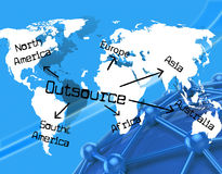 Outsource Worldwide Indicates Independent Contractor And Earth Stock Photos