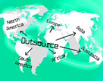 Outsource Worldwide Shows Independent Contractor And Contracting. Worldwide Outsource Indicating Globalize Supplier And Sourcing stock illustration