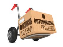 Outsourcing - Cardboard Box on Hand Truck. vector illustration
