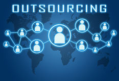 Outsourcing. Concept on blue background with world map and social icons royalty free illustration