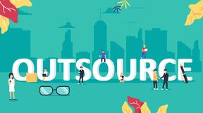 Outsourcing concept illustration. Idea of finding new staff and sources. Business company remote workers. Internet job and career in online professions. Vector Stock Photos