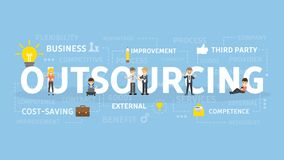 Outsourcing concept illustration. Idea of finding new staff and sources Stock Images