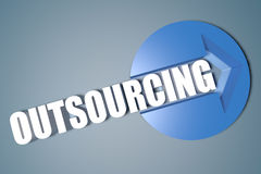 Outsourcing. 3d text render illustration concept with a arrow in a circle on blue-grey background vector illustration