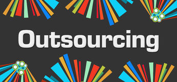 Outsourcing Dark Colorful Elements Stock Photography