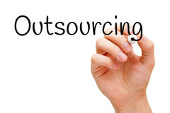 Outsourcing Handwritten With Black Marker. Hand writing Outsourcing with black marker on transparent glass board Stock Photos