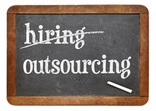 Outsourcing and hiring concept on blackboard Stock Photography