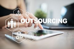 Outsourcing, hr and recruitment business strategy concept. Internet and modern technology. vector illustration
