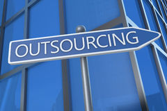 Outsourcing. Illustration with street sign in front of office building Royalty Free Stock Photography