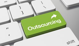 Outsourcing. Text on keyboard button vector illustration