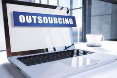Outsourcing. Text on modern laptop screen in office environment. 3D render illustration business text concept outsource contract management employment resources stock illustration