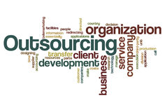 Outsourcing - Word Cloud. Word Cloud Illustration of Outsourcing Royalty Free Stock Images