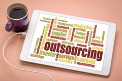 Outsourcing word cloud on a tablet Royalty Free Stock Image