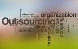 outsourcingu obłoczny słowo ilustracji