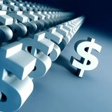 Outstanding. A dollar sign is left out from a group of dollar signs Royalty Free Stock Images