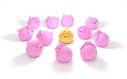 Outstanding. Group of pink pigs and one outstanding golden pig Royalty Free Stock Images