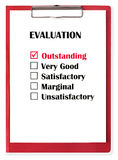 Outstanding. Rating checked on evaluation form, on red clipboard. With clipping path stock illustration