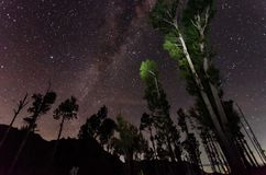 The outstanding beauty and clarity of the Milky way and the starry sky captured from high altitude on the mount bromo, indonesia. Outstanding beauty clarity royalty free stock photos