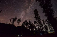 The outstanding beauty and clarity of the Milky way and the starry sky captured from high altitude on the mount bromo, indonesia. Outstanding beauty clarity stock photos
