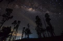 The outstanding beauty and clarity of the Milky way and the starry sky captured from high altitude on the mount bromo, indonesia. Outstanding beauty clarity stock image