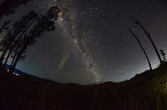 The outstanding beauty and clarity of the Milky way and the starry sky captured from high altitude on the mount bromo, indonesia. Outstanding beauty clarity stock images