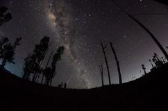 The outstanding beauty and clarity of the Milky way and the starry sky captured from high altitude on the mount bromo, indonesia. Outstanding beauty clarity stock photography