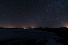 Outstanding beauty of the Milky Way arc and the starry sky captu Royalty Free Stock Images