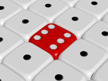 Outstanding Concept. Red dice stands out from the crowd, white dices Stock Images