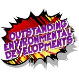 Outstanding Environmental Developments - Comic book style words. royalty free illustration