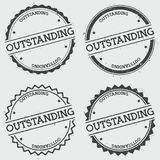 Outstanding insignia stamp isolated on white. Outstanding insignia stamp isolated on white background. Grunge round hipster seal with text, ink texture and Stock Photo