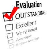 Outstanding job evalution check boxes Royalty Free Stock Images