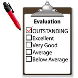 Outstanding job evalution clipboard check mark pen. An evaluation for job performance red check mark in the OUTSTANDING box with clipboard and ink pen Stock Image