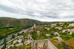 Outstanding panorama of Pocitelj old town, Bosnia and Herzegovina Royalty Free Stock Images