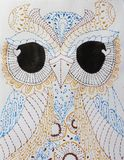 Outstanding patterned owl on white background. For tattoo design, t-shirt, pajamas, bag, postcard, a poster,textile,clothing.Hand vector illustration