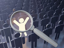 Outstanding people search. Searching concept. Outstanding  person in the crowd. Big magnifying glass over the bright figure among grey human figures Stock Photos