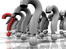 Outstanding question mark. One outstanding question mark. Army like question mark formation.High resolution 3D render Royalty Free Stock Images