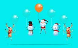 Outstanding santa claus rises above with balloon and reindeer snowman flying with balloon. Merry Christmas and happy new year. Stock Photography