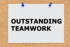 Outstanding Teamwork concept. 3D illustration of `OUTSTANDING TEAMWORK` on cork board Stock Image