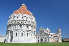 The outstanding view of the Leaning Tower on Square of Miracles in Pisa, Italy Stock Photo