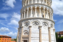 The outstanding view of the Leaning Tower on Square of Miracles in Pisa, Italy Stock Photos