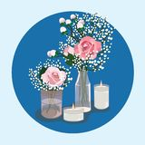 OUTSTANDING WEDDING TABLE DECORATIONS IDEAS stock illustration