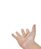 Outstretched Hand. A white woman's hand reaches out into blank space Royalty Free Stock Images