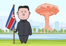 OUTUBRO, 30, 2017: Explosão da bomba nuclear na cidade, nos cogumelos atômicos e no caráter da caricatura do North Korean ilustração do vetor