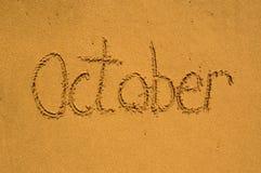 Outubro na areia imagens de stock