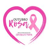 Outubro Rosa. Mes da prevencao do cancer de mama is Pink October breast cancer awareness month in portuguese. Vector Stock Images
