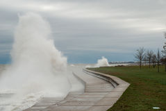 Outumn storm on the lake Michigan, Chicago, Illinois Royalty Free Stock Photo