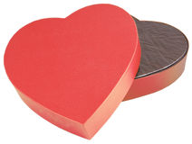 ouvert d'isolement par coeur d'or de chocolat de cadre formé Photo libre de droits
