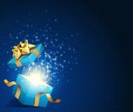 Ouvert explorez le cadeau avec des étoiles de mouche illustration libre de droits