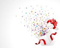 Ouvert explorez le cadeau avec des étoiles de mouche Photos libres de droits