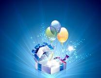 Ouvert explorez le cadeau avec le fond d'étoiles illustration libre de droits